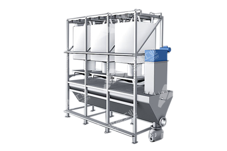 Ton bag discharging and feeding station